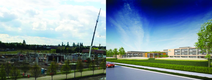 Rendering & construction photos of Banfield Pet Hospital headquarters under construction
