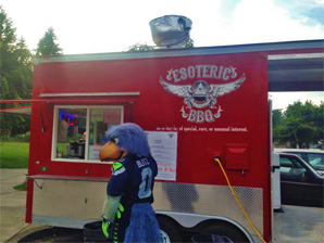 Esoteric BBQ Food Truck with Seattle Seahawk mascot