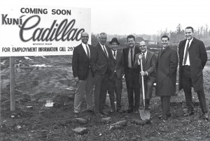 Kuni Cadillac, Wayne Kuni's (with shovel) first dealership 1969